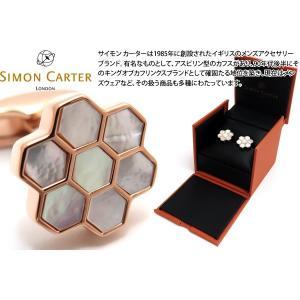 SIMON CARTER サイモン・カーター ハニカムカフス(白蝶貝&ローズゴールド) (カフスボタン カフリンクス)|cufflink