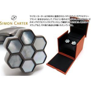 SIMON CARTER サイモン・カーター ハニカムカフス(白蝶貝&ガンメタル) (カフスボタン カフリンクス)|cufflink