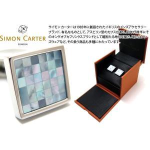 SIMON CARTER サイモン・カーター スモールスクエアチェッカーカフス(青蝶貝) (カフスボタン カフリンクス)|cufflink