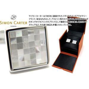 SIMON CARTER サイモン・カーター スモールスクエアチェッカーカフス(白蝶貝) (カフスボタン カフリンクス)|cufflink