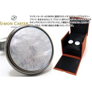 SIMON CARTER サイモン・カーター ペイズリーカフス(ガンメタル&白蝶貝) (カフスボタン カフリンクス)|cufflink