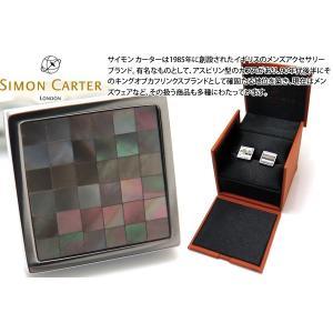 P10倍 SIMON CARTER サイモン・カーター スモールスクエアチェッカーカフス(黒蝶貝) (カフスボタン カフリンクス)|cufflink