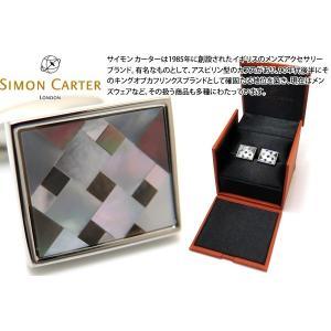 P10倍 SIMON CARTER サイモン・カーター キュービストモザイクカフス(黒蝶貝&白蝶貝) (カフスボタン カフリンクス)|cufflink