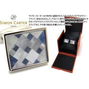 P10倍 SIMON CARTER サイモン・カーター キュービストモザイクカフス(ソーダライト&白蝶貝) (カフスボタン カフリンクス)|cufflink
