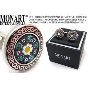MONART モンアート ムッリーネベネチアンガラスフラワーカフス(レッド) (カフスボタン カフリンクス)|cufflink