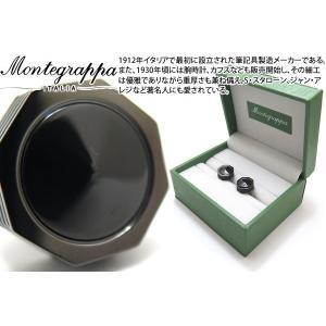 MONTEGRAPPA モンテグラッパ ネロウーノリネアカフス(ガンメタル/オニキス) (カフスボタン カフリンクス)|cufflink
