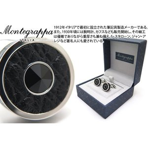 MONTEGRAPPA モンテグラッパ クラシックレザーカフス(ステンレス/ブラッククリスタル) (カフスボタン カフリンクス)|cufflink