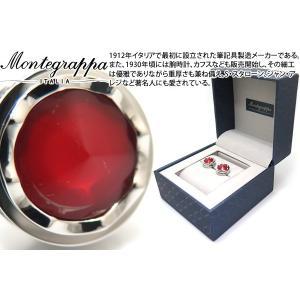 MONTEGRAPPA モンテグラッパ パローラカフス(スティール、レッド) (カフスボタン カフリンクス)|cufflink