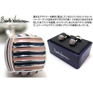 Babette Wasserman バベットワッサーマン モンキーノットカフス(ネイビー&ピンク) (カフスボタン カフリンクス)|cufflink