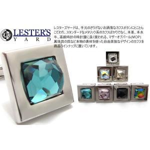 LESTER'S YARD レスターズヤード スワロフスキースクウェアカフス (カフスボタン カフリンクス)|cufflink