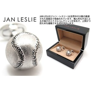 JAN LESLIE ジャンレスリー ブラッシュドシルバーベースボールシルバーカフス (カフスボタン カフリンクス) ブランド|cufflink