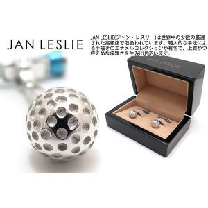 JAN LESLIE ジャンレスリー ゴルフボール&ムービングブルーティーシルバーカフス (カフスボタン カフリンクス) ブランド|cufflink