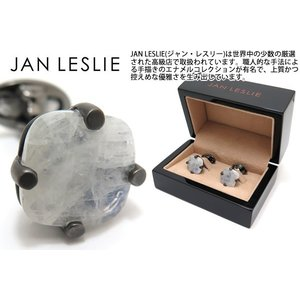 JAN LESLIE ジャンレスリー スクエアファセットムーンストーンシルバーカフス (カフスボタン カフリンクス) ブランド|cufflink