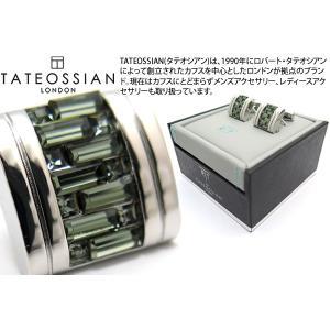 TATEOSSIAN タテオシアン ベルグレイヴィアインターロックDシェイプスワロフスキーカフス(グレイ) (カフリンクス)|cufflink