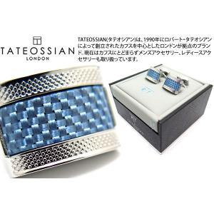 【P10倍】 TATEOSSIAN タテオシアン カーボンファイバーDシェイプカフス(ブルー) (カフスボタン カフリンクス) ブランド|cufflink