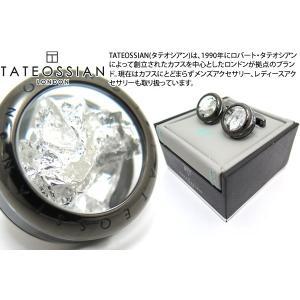 TATEOSSIAN タテオシアン ユニーク パノラマプレシャスリーフカフス(ガンメタル&シルバー0.004g) (カフスボタン カフリンクス)|cufflink