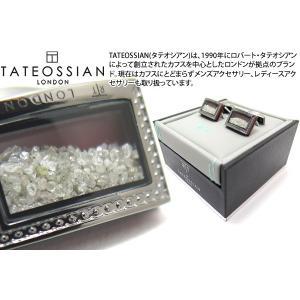 TATEOSSIAN タテオシアン ユニーク シグニチャダイヤモンドダストカフス(ガンメタル&レッド) (カフスボタン カフリンクス) ブランド|cufflink