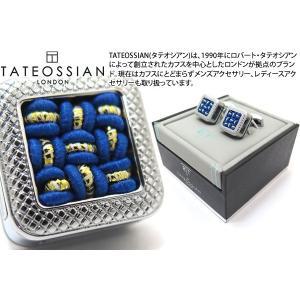 【P10倍】 TATEOSSIAN タテオシアン ユニーク パノラマ水引カフス(ブルー&ゴールド) (カフスボタン カフリンクス) ブランド|cufflink