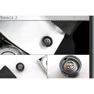 TATEOSSIAN タテオシアン メカニカル ギアブルズアイカフス(ガンメタル&ブルー) (カフスボタン カフリンクス) ブランド|cufflink|04