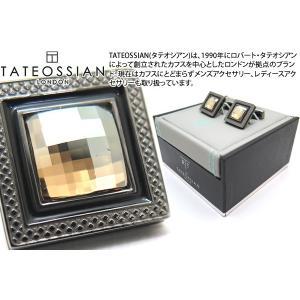 TATEOSSIAN タテオシアン クリスタル クアドラートネーロスワロフスキーカフス(ゴールド) (カフスボタン カフリンクス) ブランド|cufflink