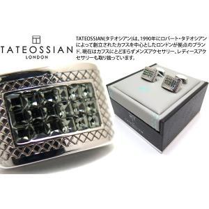 TATEOSSIAN タテオシアン クリスタル スワロフスキーラティスカフス(ブラックダイヤモンド) (カフスボタン カフリンクス) ブランド cufflink