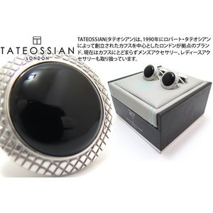 TATEOSSIAN タテオシアン ビジネス ブルズアイ半貴石カフス(ロジウム&オニキス) (カフスボタン カフリンクス) ブランド|cufflink