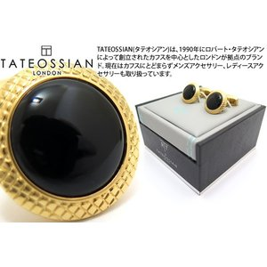 TATEOSSIAN タテオシアン ビジネス ブルズアイ半貴石カフス(イエローゴールド&オニキス) (カフスボタン カフリンクス) ブランド|cufflink