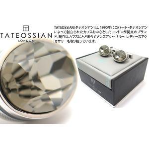 TATEOSSIAN タテオシアン クリスタル オーバルスワロフスキーカフス(ブラックダイヤモンド&グレーエナメル) (カフスボタン カフリンクス) ブランド|cufflink