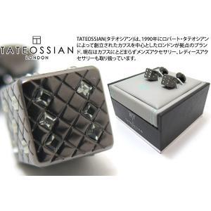 TATEOSSIAN タテオシアン クリスタル ダイススワロフスキーカフス(ガンメタル&ブラックダイヤモンド) (カフスボタン カフリンクス) ブランド|cufflink