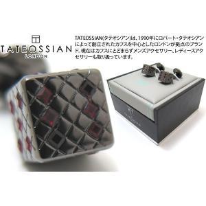 TATEOSSIAN タテオシアン クリスタル ダイススワロフスキーカフス(ガンメタル&シャム) (カフスボタン カフリンクス) ブランド|cufflink