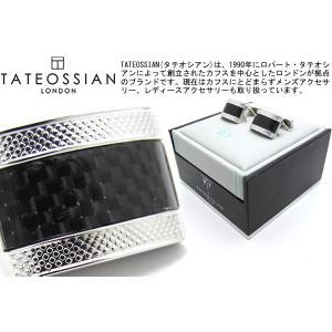 【P10倍】 TATEOSSIAN タテオシアン カーボンファイバーDシェイプカフス(ブラック) (カフスボタン カフリンクス) ブランド|cufflink