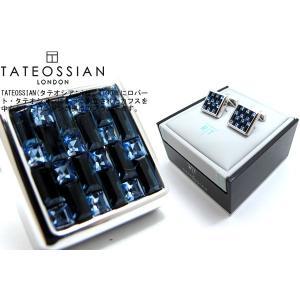 TATEOSSIAN タテオシアン スワロフスキーインターロックスクウェアカフス(ブルー) (カフリンクス) ブランド|cufflink