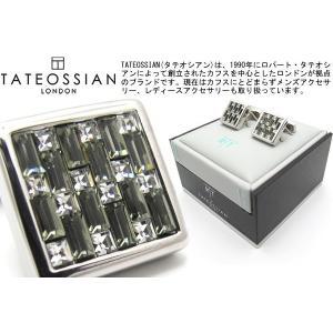 TATEOSSIAN タテオシアン スワロフスキーインターロックスクウェアカフス(ブラック) (カフリンクス) ブランド|cufflink