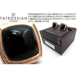 TATEOSSIAN タテオシアン シグニチャースクウェアローズゴールドシルバーカフス (オニキス) (カフリンクス) ブランド|cufflink