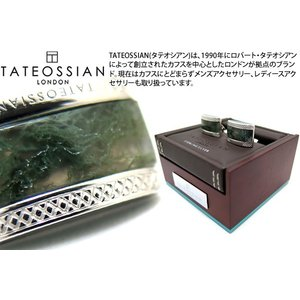 TATEOSSIAN タテオシアン シグニチャDシェイプ半輝石シルバーカフス(グリーンモスアゲート) (カフスボタン カフリンクス) ブランド|cufflink