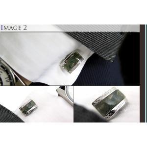 TATEOSSIAN タテオシアン シグニチャDシェイプ半輝石シルバーカフス(グリーンモスアゲート) (カフスボタン カフリンクス) ブランド|cufflink|04