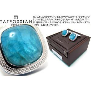 TATEOSSIAN タテオシアン シグニチャダブレットスクウェアシルバーカフス(アパタイト) 世界限定40セット (カフスボタン カフリンクス)|cufflink