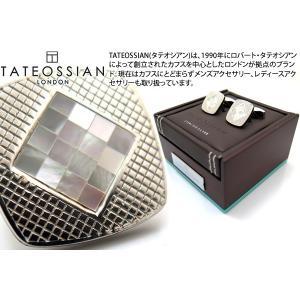 TATEOSSIAN タテオシアン チェッカーシルバーカフス(白蝶貝) (カフスボタン カフリンクス)|cufflink