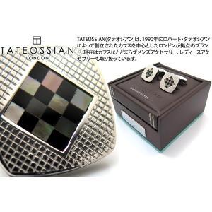 TATEOSSIAN タテオシアン チェッカーシルバーカフス(オニキス&黒蝶貝) (カフスボタン カフリンクス)|cufflink