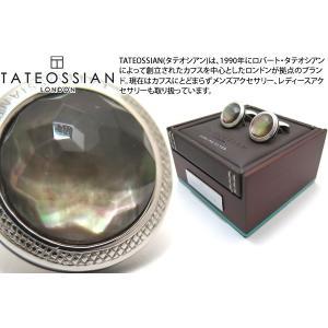 TATEOSSIAN タテオシアン ドッピオーネラウンドファセットシルバーカフス(黒蝶貝) (カフスボタン カフリンクス)|cufflink