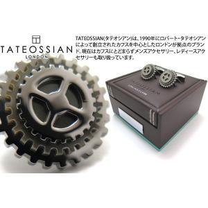 TATEOSSIAN タテオシアン ロータリングプレシャスギアシルバーカフス(ブラック&黒蝶貝) (カフスボタン カフリンクス)|cufflink