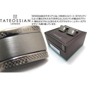TATEOSSIAN タテオシアン シグニチャDシェイプシルバーカフス(ブラック) (カフスボタン カフリンクス)|cufflink