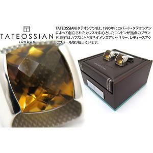 TATEOSSIAN タテオシアン チェッカーボードシルバーカフス(ウィスキークォーツ) (カフスボタン カフリンクス) ブランド|cufflink