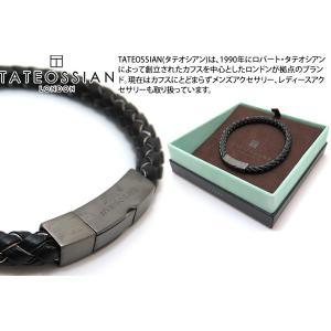 TATEOSSIAN タテオシアン レザーシルバークリックトッコブレスレット(マットブラックロジウム&ブラック&グレー) ブランド|cufflink