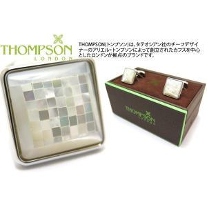 THOMPSON トンプソン モザイクスクエアカフス(白蝶貝) (カフスボタン カフリンクス) ブランド|cufflink