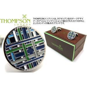 THOMPSON トンプソン タータンカフス(ブルー) (カフスボタン カフリンクス) ブランド|cufflink