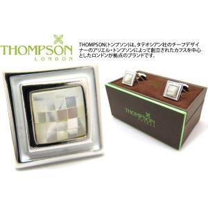 THOMPSON トンプソン モザイクスクエア&エナメルカフス(白蝶貝) (カフスボタン カフリンクス) ブランド|cufflink