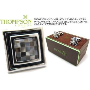 THOMPSON トンプソン モザイクスクエア&エナメルカフス(黒蝶貝) (カフスボタン カフリンクス) ブランド|cufflink