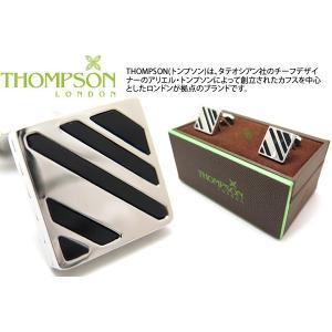 THOMPSON トンプソン スラッシュカフス(オニキス、メタル) (カフスボタン カフリンクス) ブランド|cufflink