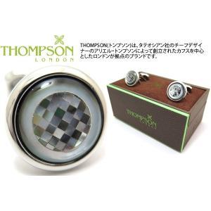 P10倍 THOMPSON トンプソン モザイクラウンドカフス(黒蝶貝) (カフスボタン カフリンクス) ブランド|cufflink